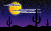 Desert with cactus plants. Night — Stock Vector