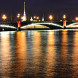 Night view of the Troitsky Bridge in St.Petersburg — Stock Photo