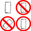 Mobile phone prohibition signs - Stock Vector