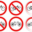 Stock Vector: Set of variants bicycle stop sign