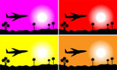 Set of images: plane in the sky — Stock Vector
