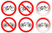 Set of variants a bicycle stop sign — Stock Vector
