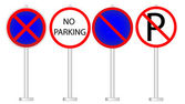 Variants a No parking - road sign — Stock Vector
