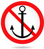 Forbidding round sign with an anchor — Stock Vector