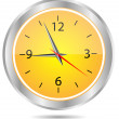 Clock yellow circle icon — Stock Vector