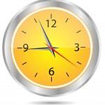 gelber Kreis Uhrsymbol — Stockvektor