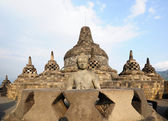 Buddha statue in stupa. Borobudur. Java. Indonesia — Foto Stock