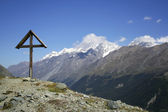 Cross, Hiking in Alps, Monte Rosa — Stock Photo