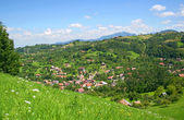 Beautiful views over the village from a high hill — Stock Photo