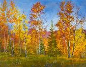 Herbstliche landschaft, ölgemälde — Stockfoto