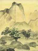 Chinese painting, hills — Stock Photo