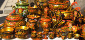 Traditional Russian wooden painted dishes — Stock Photo