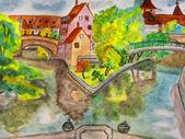 Nuremberg, hand drawn picture — Stock Photo