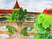 Nuremberg, hand drawn picture — Stock Photo