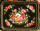 Tray in traditional style Zhostovo, Russia — Stock Photo