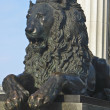 Statue of lion near cathedral of Jesus Christ, Moscow — Stock Photo