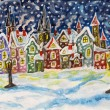 Fairy town in winter, hand drawn painting — Stock Photo