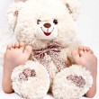 Little girl holding teddy bear — Stock Photo #5428986