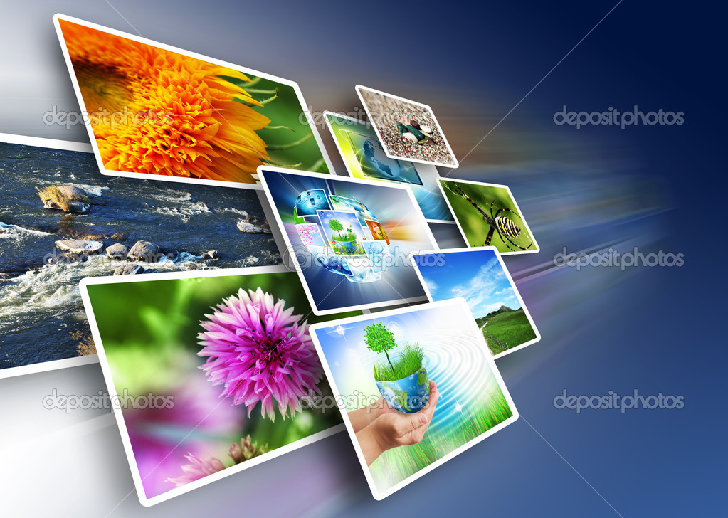 Plasma display panels with the images aligned perspective — Stock Photo #5843687