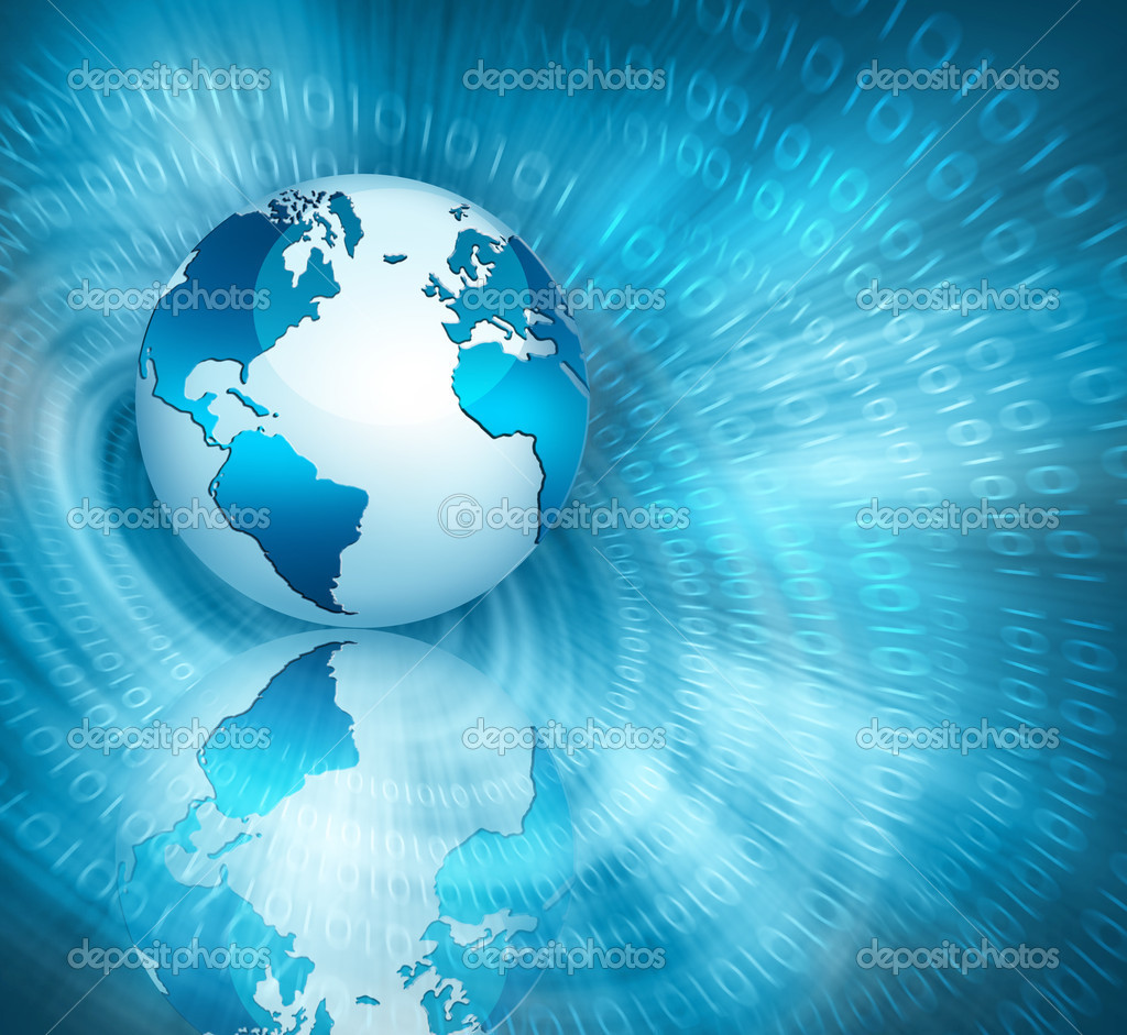 Globe on Internet technology background  Stock Photo #5889284