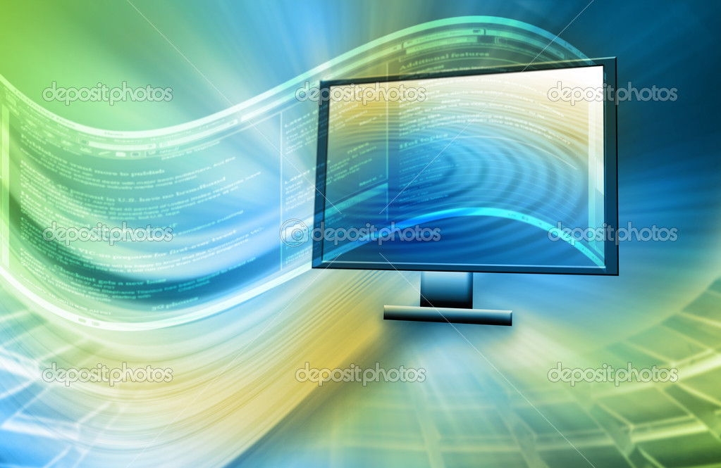 Monitor the technology background with an abstract image of the Internet  Foto de Stock   #5889369