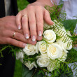 Wedding rings on wedding day — Stock Photo