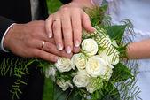 Wedding rings on wedding day — Stock Photo