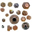 Old rusty Screw heads, bolts, valve, isolated on white background — Stock Photo