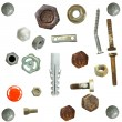 Collection old rusty Screw heads, bolts, steel nuts,old metal nail, - Stock Photo