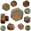 Very old rusty Screw heads, bolts, wheels screw isolated on white — Foto de Stock