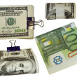 Colection of packs of 100 dollars and euro isolated on white background — Stock Photo