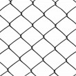 Metal wire fence protection isolated on white background - Stock Photo