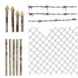 Set metal wire fence protection isolated on white for background texture - Stock Photo