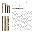 Set metal wire fence protection isolated on white for background texture - Stockfoto