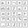 Stock Photo: Hand draw sport symbols isolated on white background