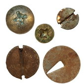 Old rusty Screw heads, bolts, old metal pin isolated on white background — Stock Photo