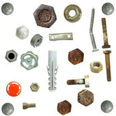 Collection old rusty Screw heads, bolts, steel nuts,old metal nail, — Stock Photo