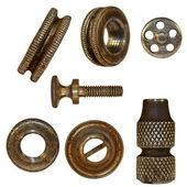 Very old bolts, steel nuts, screw heads, isolated on white background (1860 — Stock Photo