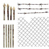 Set metal wire fence protection isolated on white for background texture — Stock Photo