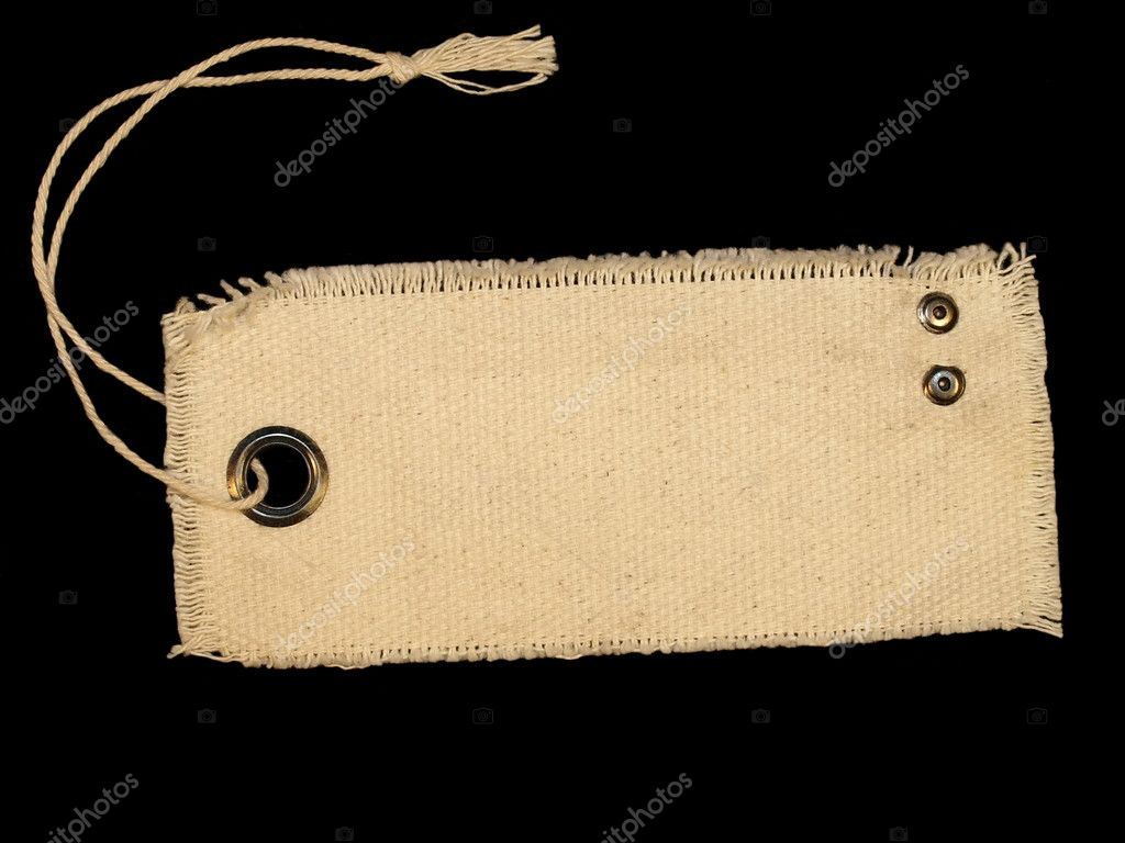 Blank textile tag isolated on black background — Stock ...