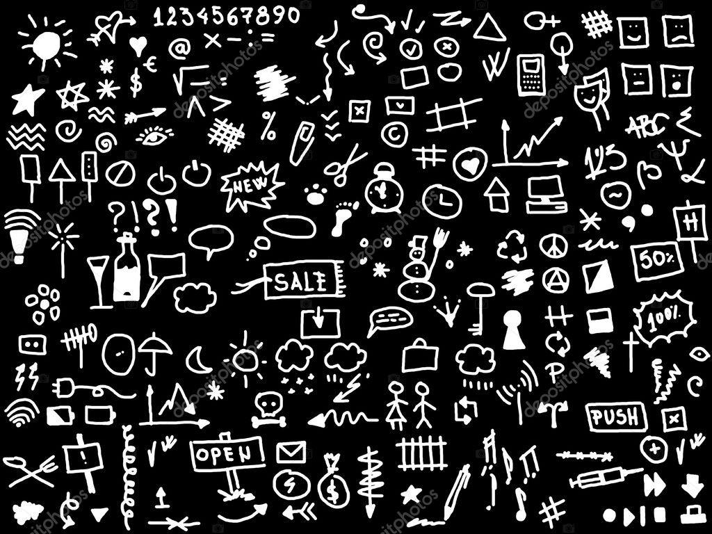 siyah arka plan üzerine izole 220 el çizmek web simgesi — Stok ...