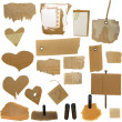 Set Cardboard Scraps, blank tag, paper notes, isolated on white background — Stock Photo