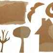 Set Cardboard Scraps Halloween isolated on white background — Stock Photo
