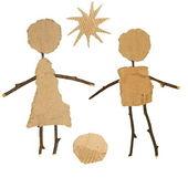 Cardboard Children isolated on white background — ストック写真