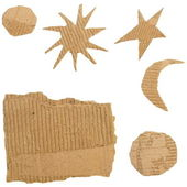 Set Cardboard Scraps isolated on white background (stars, moon, sun) — Zdjęcie stockowe