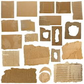 Set Cardboard Scraps and Hole ripped cardboard isolated on white background — Stock Photo