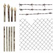 Set metal wire fence protection isolated on white — Stock Photo