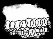 War scenes with barbed wire fence and black fog background — Stock Photo