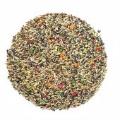 Birdseed, mixed granular food for canaries isolated on white background — Stock Photo