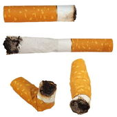 Set Cigarette butts isolated on white background, texture — Stock Photo